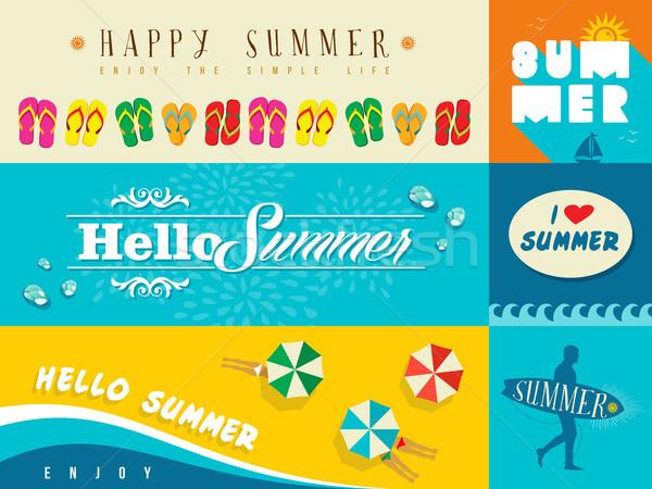 Nyár szalag szett illusztráció terv bannerek Stock fotó © cienpies
