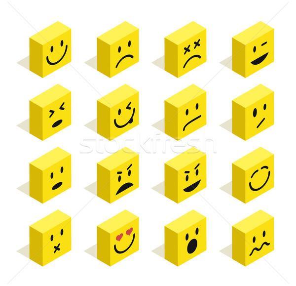 Flat isometric Emoticons set illustration Stock photo © cienpies