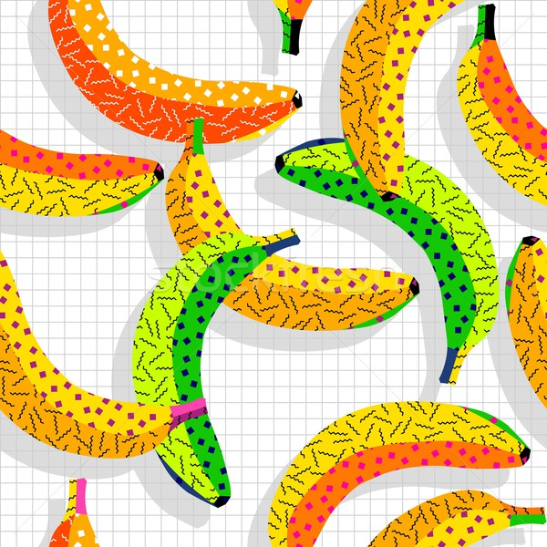 Retro 80s banana pattern background Stock photo © cienpies