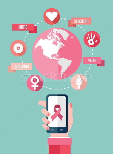 Cáncer de mama móviles aplicación iconos infografía red Foto stock © cienpies