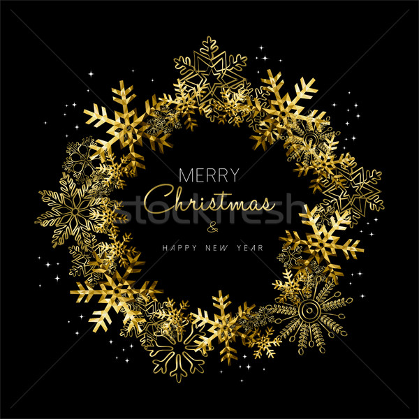Merry Christmas and New Year gold snowflake wreath Stock photo © cienpies
