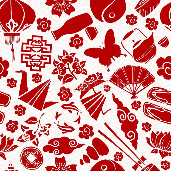 Китайский Новый год азиатской культуры традиционный иконки красный Сток-фото © cienpies