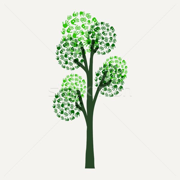 Mão imprimir árvore ilustração ambiente causar Foto stock © cienpies