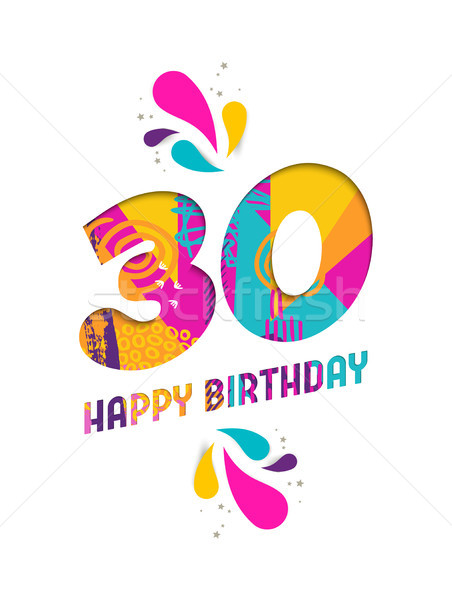 Happy birthday 30 year paper cut greeting card Stock photo © cienpies