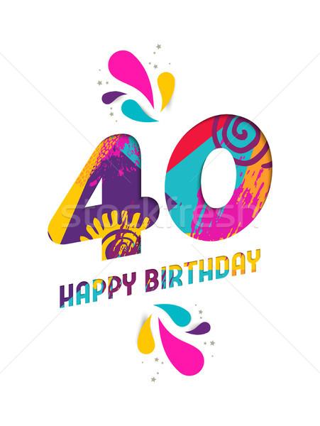 Happy birthday 40 year paper cut greeting card Stock photo © cienpies