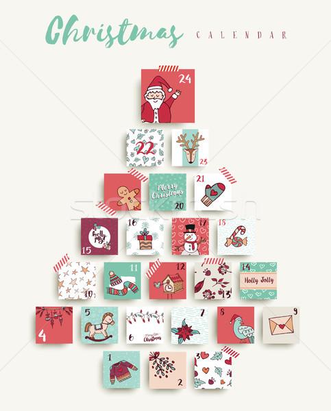 Christmas advent calendar cute cartoon holiday art Stock photo © cienpies