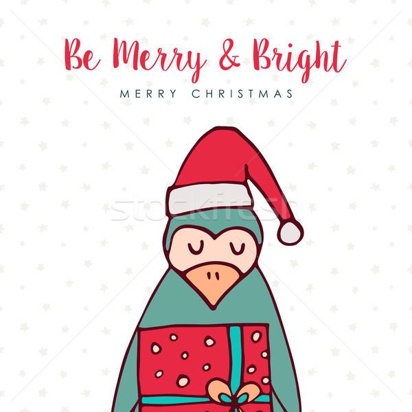 Karácsony mikulás pingvin rajz ünnep kártya Stock fotó © cienpies