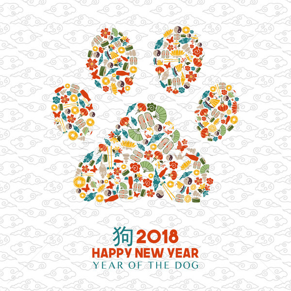 Chinese new year 2018 dog paw icon shape card Stock photo © cienpies