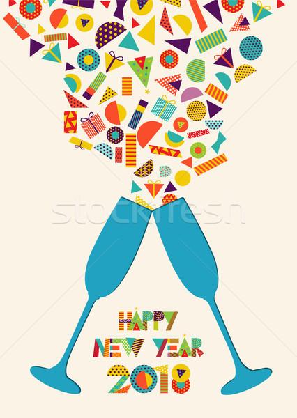 明けましておめでとうございます カラフル パーティ トースト スプラッシュ 実例 ストックフォト © cienpies
