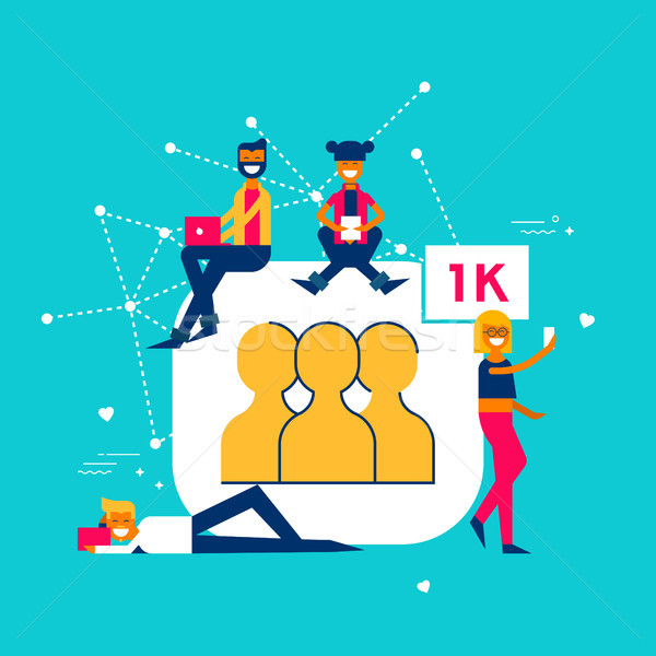 1k Followers on social media network concept Stock photo © cienpies