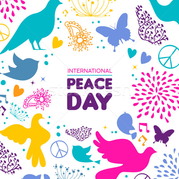 Monde paix jour carte colombe oiseau Photo stock © cienpies