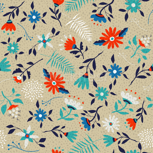 Retro spring flower pattern background art Stock photo © cienpies