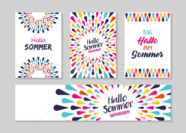 Hello summer german greeting card label set  Stock photo © cienpies