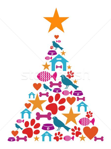 Pet care Christmas tree Stock photo © cienpies