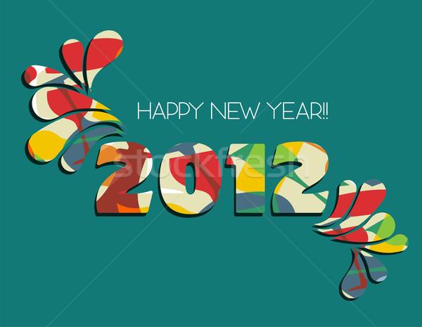 Happy new year 2012 vert célébration nouvelle année couleur Photo stock © cienpies