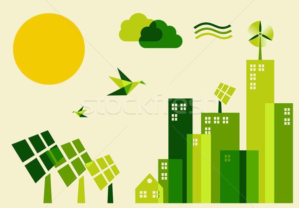 Città sostenibile sviluppo illustrazione verde industria Foto d'archivio © cienpies