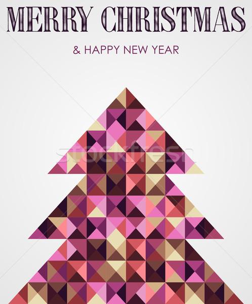 Jahrgang Mosaik Weihnachten Kiefer zeitgenössischen mehrfarbig Stock foto © cienpies