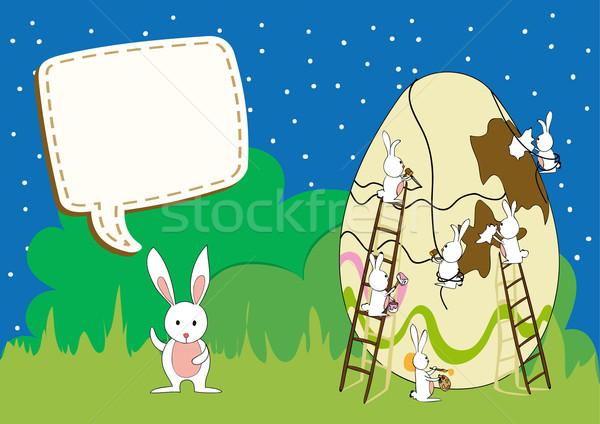 Húsvét építkezés üdvözlőlap dekoratív húsvéti tojás csapatmunka Stock fotó © cienpies