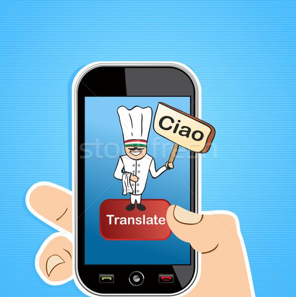 On-line tradução aplicativo mão Foto stock © cienpies