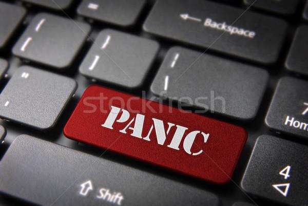 Red keyboard key Panic button, Status background Stock photo © cienpies