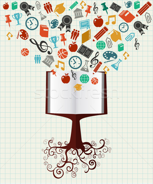Education colorful icons book tree. Stock photo © cienpies