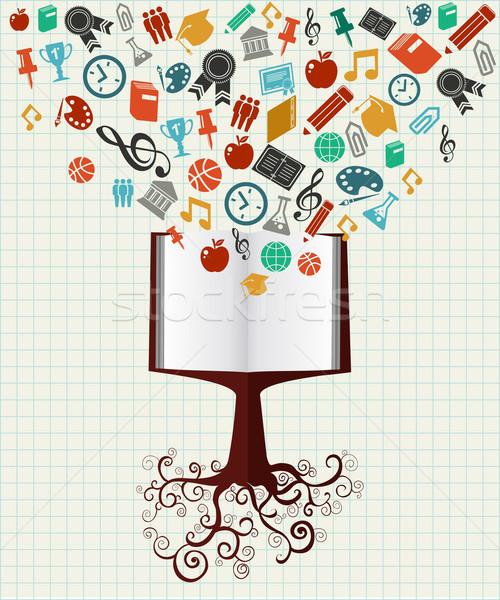 Zdjęcia stock: Edukacji · kolorowy · ikona · książki · drzewo · powrót · do · szkoły