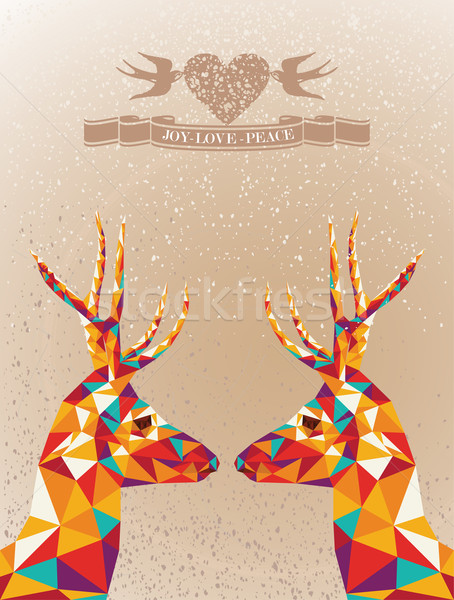 Merry Christmas colorful reindeers shape. Stock photo © cienpies