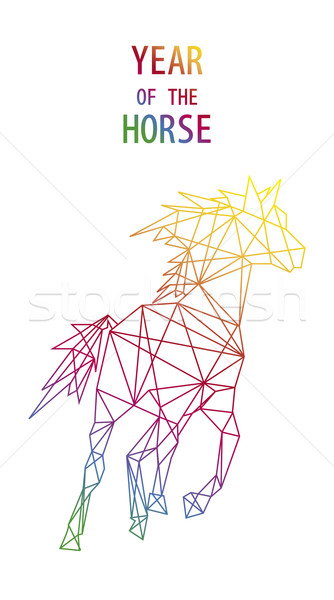 Chinese new year of the Horse abstract triangle shape file. Stock photo © cienpies