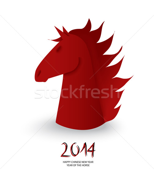Chinese new year of the Horse red chess figure vector. Stock photo © cienpies