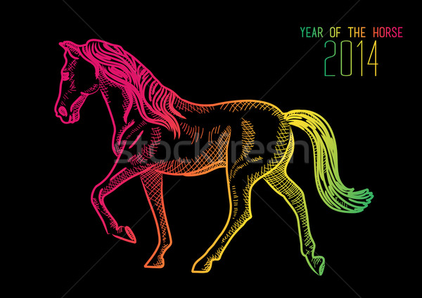 Happy Chinese New Year of horse 2014  Stock photo © cienpies