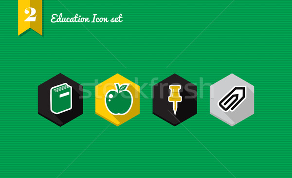Education flat icons set collection Stock photo © cienpies