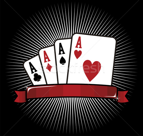 Four Aces. Poker icon Stock photo © cienpies