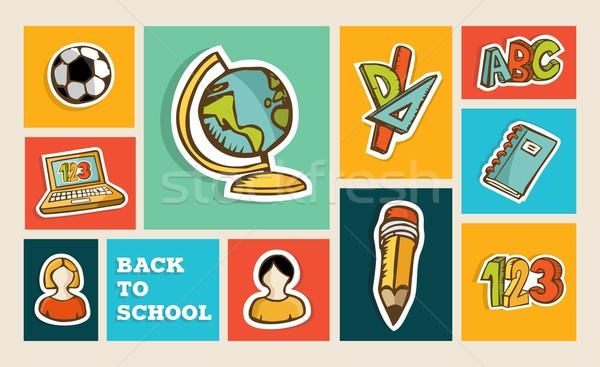 Back to school icon set Stock photo © cienpies