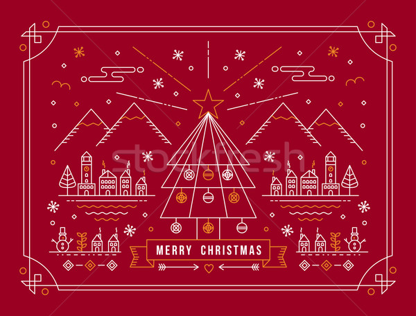 Merry christmas outline tree city winter poster Stock photo © cienpies