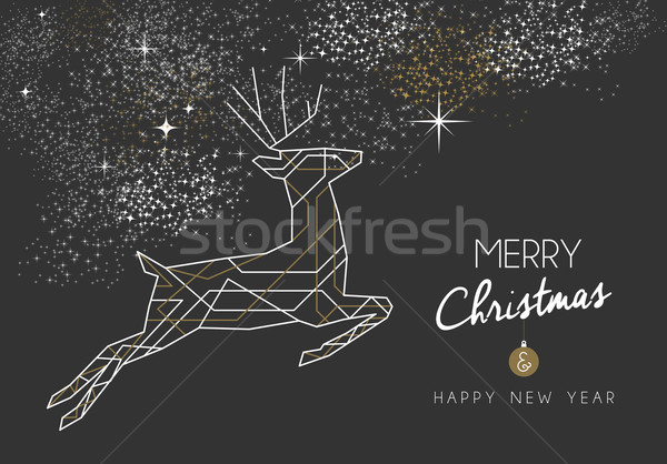 Merry christmas new year deer art deco outline Stock photo © cienpies