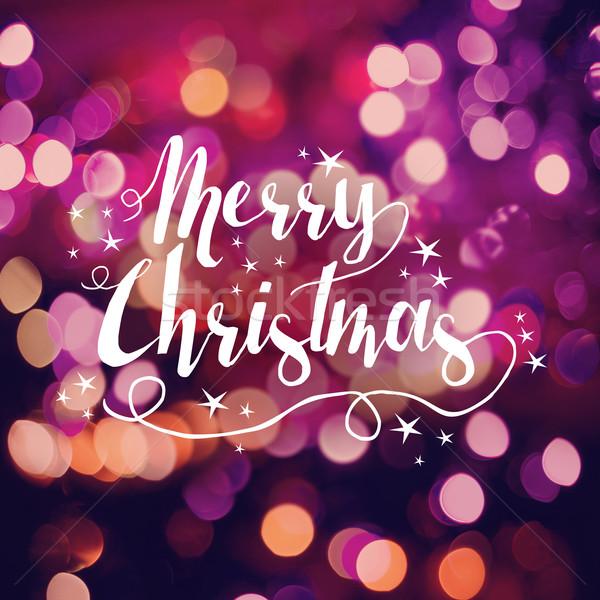 Merry christmas greeting card bokeh star handdrawn Stock photo © cienpies