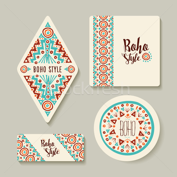 Boho style sticker or tags set with tribal art Stock photo © cienpies