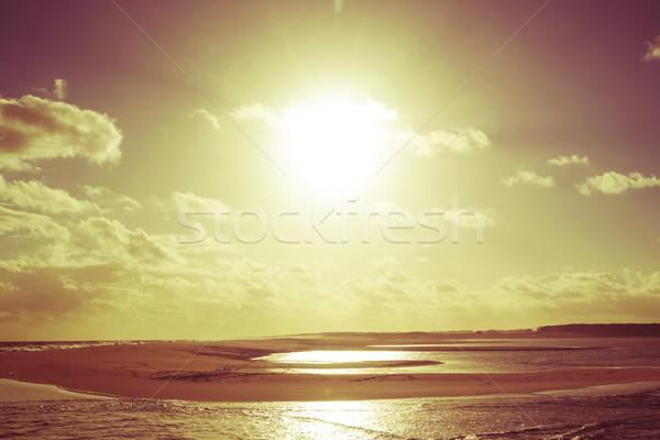Arany klasszikus nyár tengerpart naplemente nap Stock fotó © cienpies