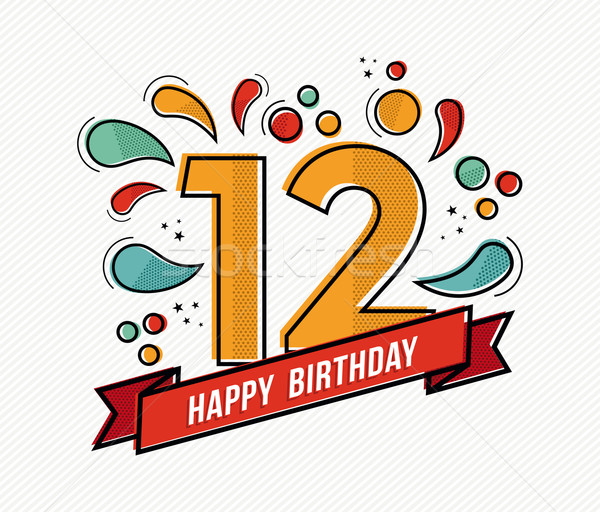 Colorful happy birthday number 12 flat line design Stock photo © cienpies
