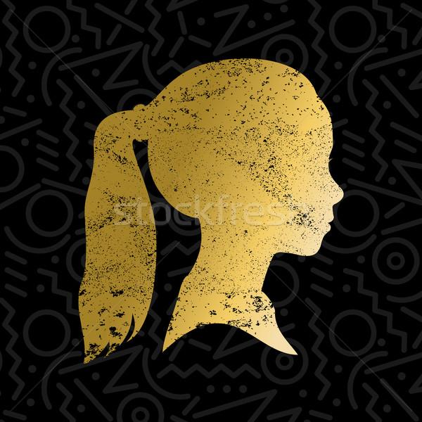 Sziluett kislány arc arany szín lány Stock fotó © cienpies