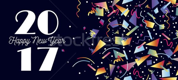 Happy new year parti kutlama web sosyal medya Stok fotoğraf © cienpies