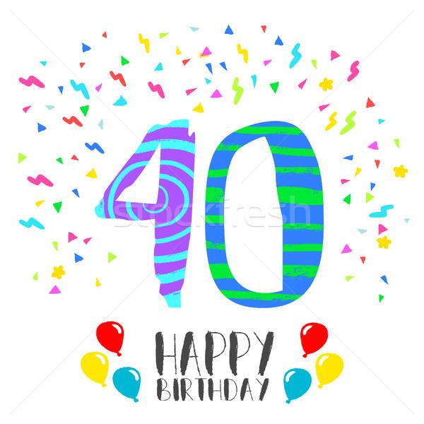 Boldog születésnapot 40 év buli meghívó kártya szám Stock fotó © cienpies