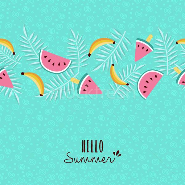 Hallo zomer tropische vruchten patroon wenskaart gelukkig Stockfoto © cienpies