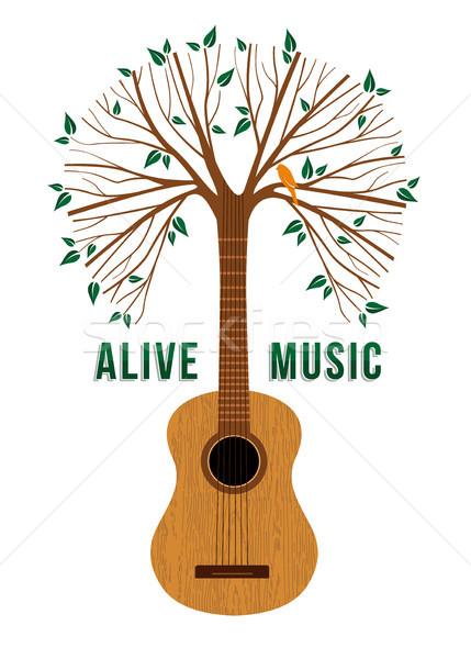 Chitarra albero vivere musica citare illustrazione Foto d'archivio © cienpies
