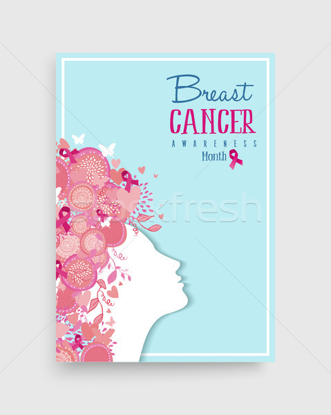 Breast cancer awareness pink girl poster design Stock photo © cienpies