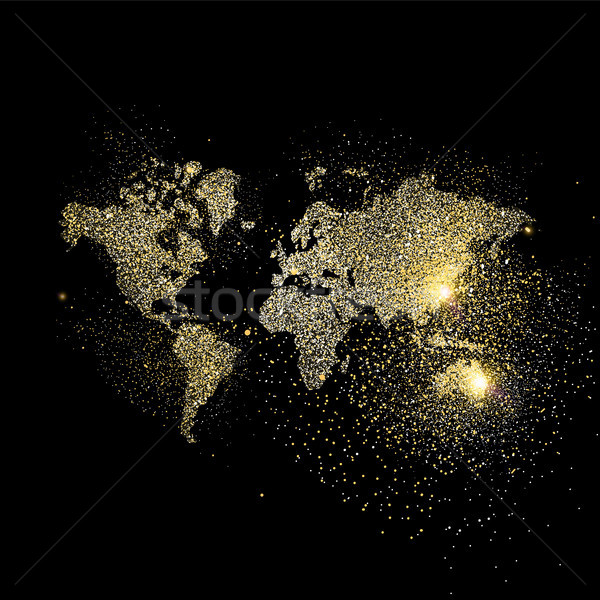 World map gold glitter art concept illustration Stock photo © cienpies
