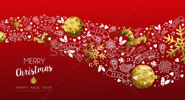 Ouro veado natal ano novo teia bandeira Foto stock © cienpies