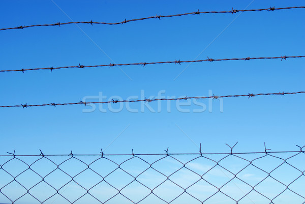 Cut wire fence on a clear blue sky Stock photo © cienpies