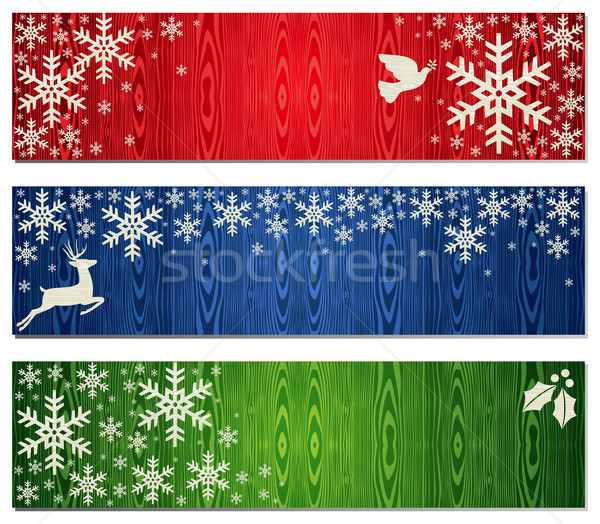 Christmas snowflakes banner backgrounds set Stock photo © cienpies