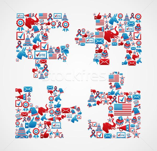 Imagine de stoc: SUA · alegeri · icoane · puzzle · bucata